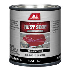 Ace  Rust Stop  Indoor and Outdoor  Flat  Black  Rust Prevention Paint  1/2 pt.