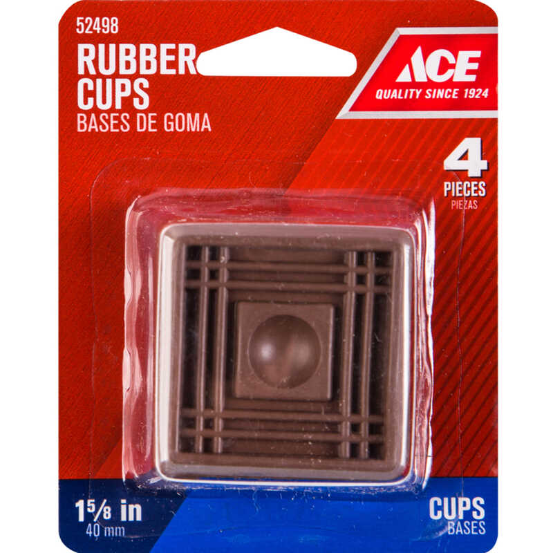 Ace  Rubber  Caster Cup  Brown  Square  1-1/2 in. W x 1-1/2 in. L 4 pk