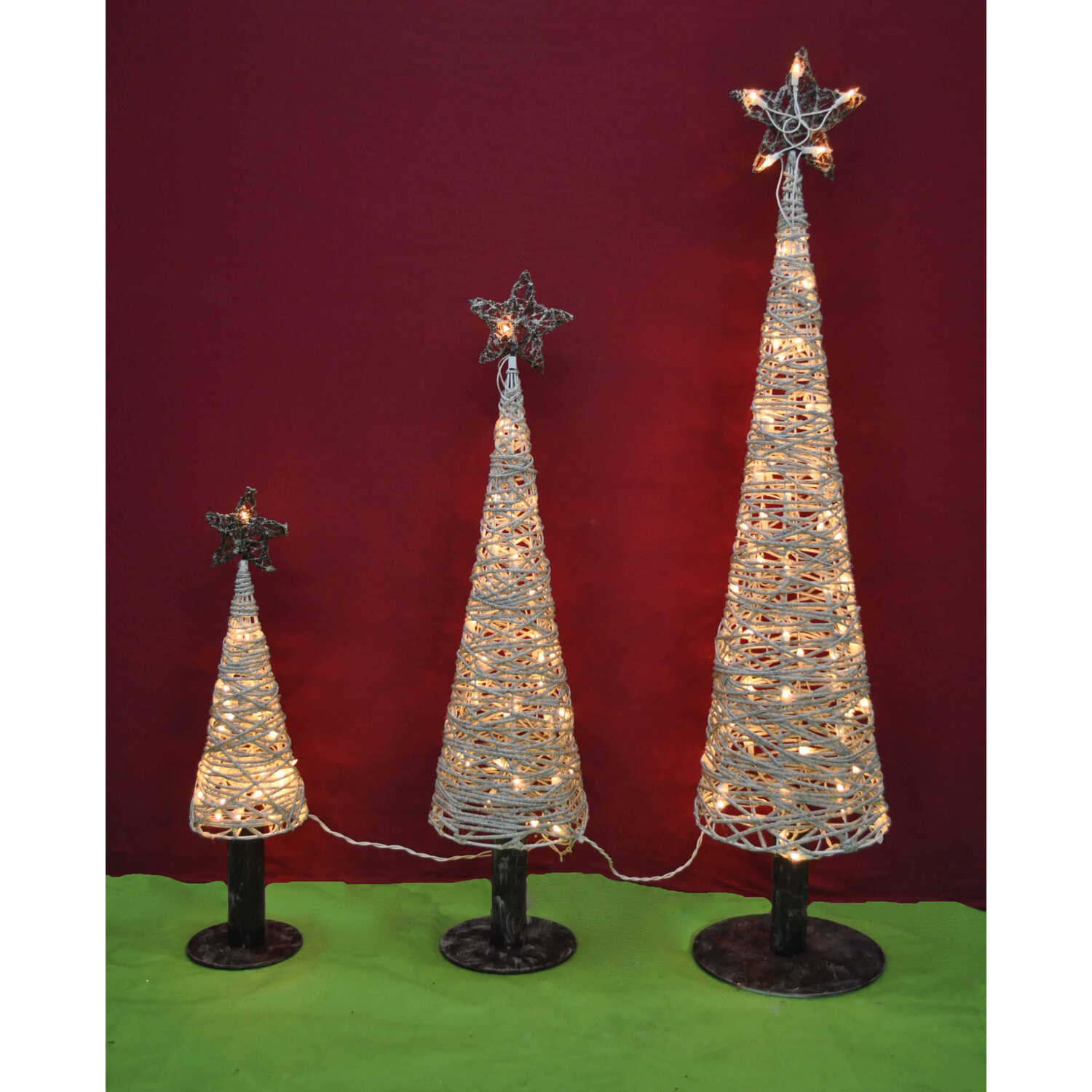 Celebrations  Cone Tree  LED Yard Art  White  Birch  3 pc.