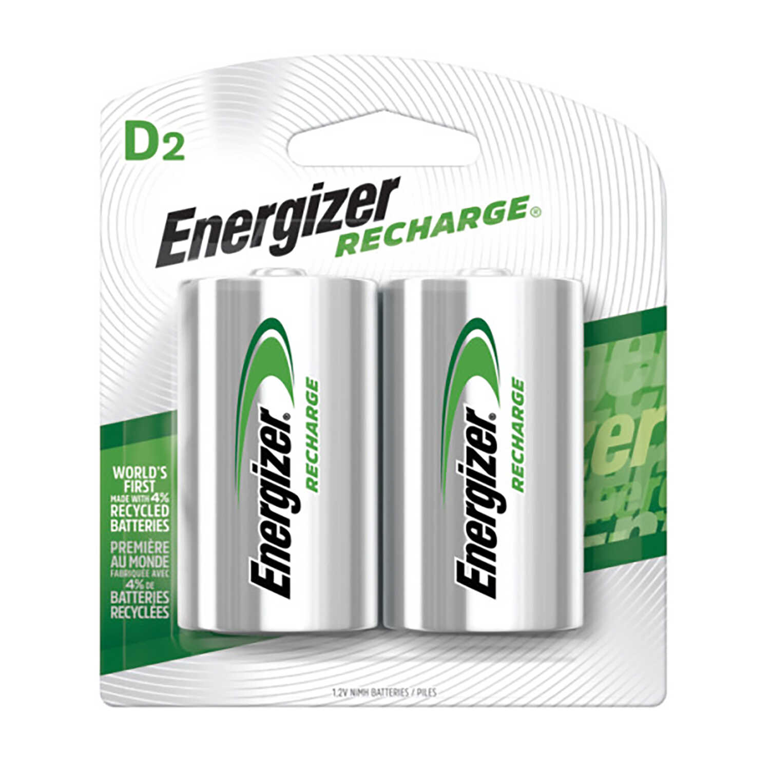 Energizer  NiMH  D  1.2 volt Rechargeable Batteries  NH50BP-2R2  2 pk