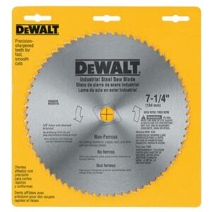DeWalt  7-1/4 in. Dia. x 5/8 in.  Carbide Tipped  Circular Saw Blade  68 teeth 1 pk