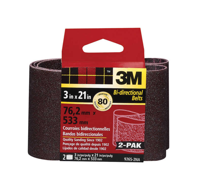 3M  21 inch in. L x 3 in. W Aluminum Oxide  Sanding Belt  80 Grit Medium  2 pc.