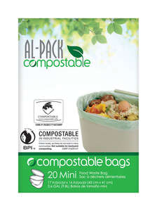 Al-Pack Compostable  Kitchen Food Waste  2.6 gal. Compost Bags  Flat Top  20 pk