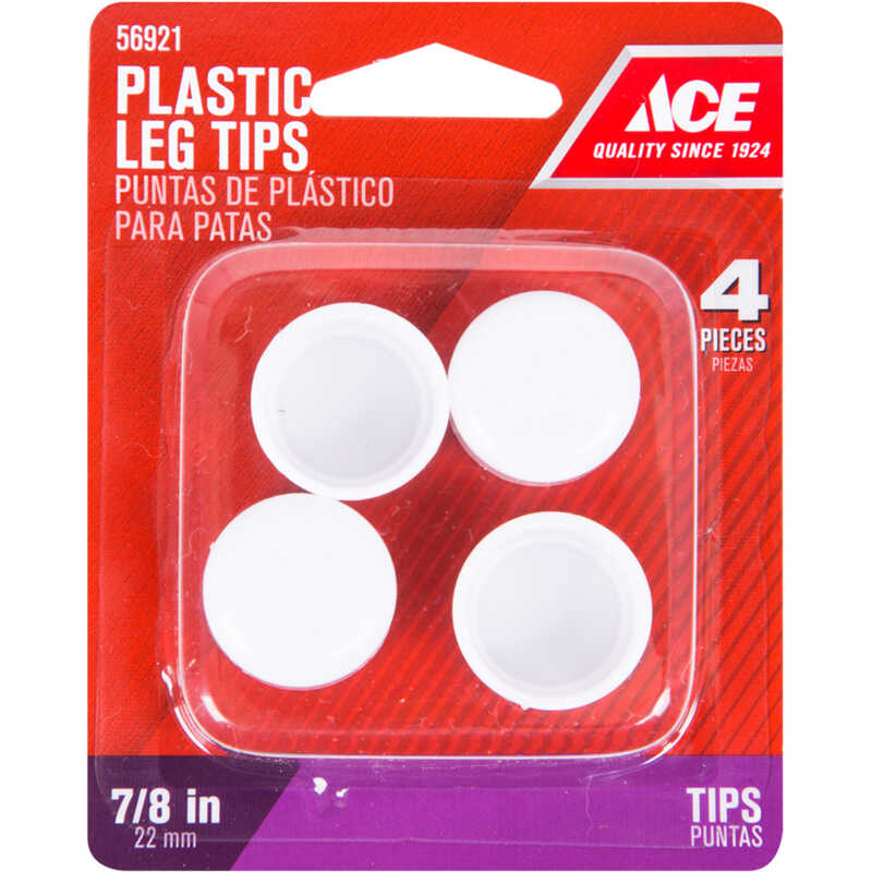 Ace  Plastic  Leg Tip  White  Round  7/8 in. W 4 pk