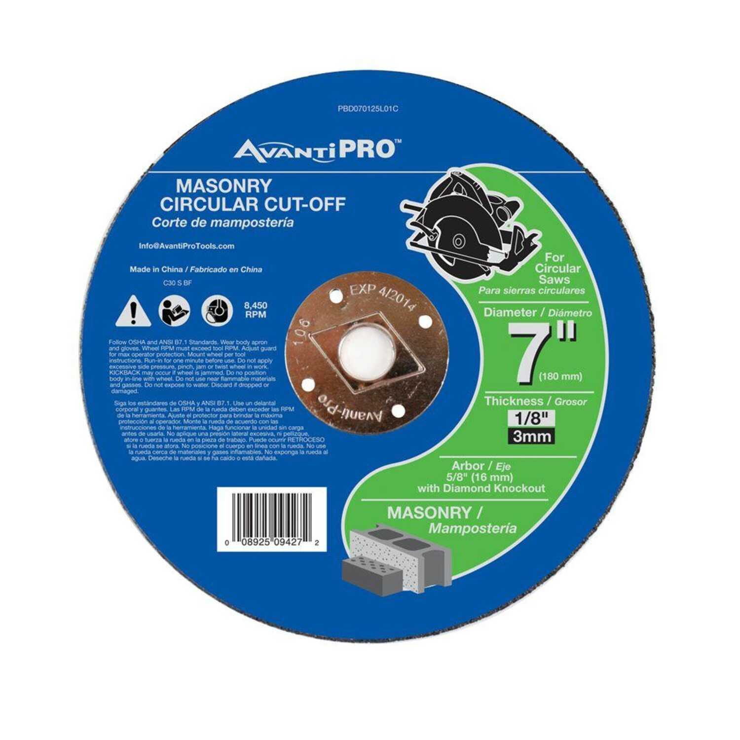 Avanti Pro  7 in. Aluminum Oxide  Masonry Cut-Off Disc  1/8 in.  x 5/8 in.   1 pk