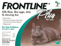Frontline  Plus  Liquid  Cat  Flea and Tick Drops  9.8% Fibronil, 8.8% (S)-methoprene  0.02 oz.