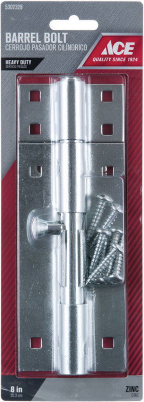 Ace Barrel Bolt 8 in. Zinc For Doors, Chests and Cabinets