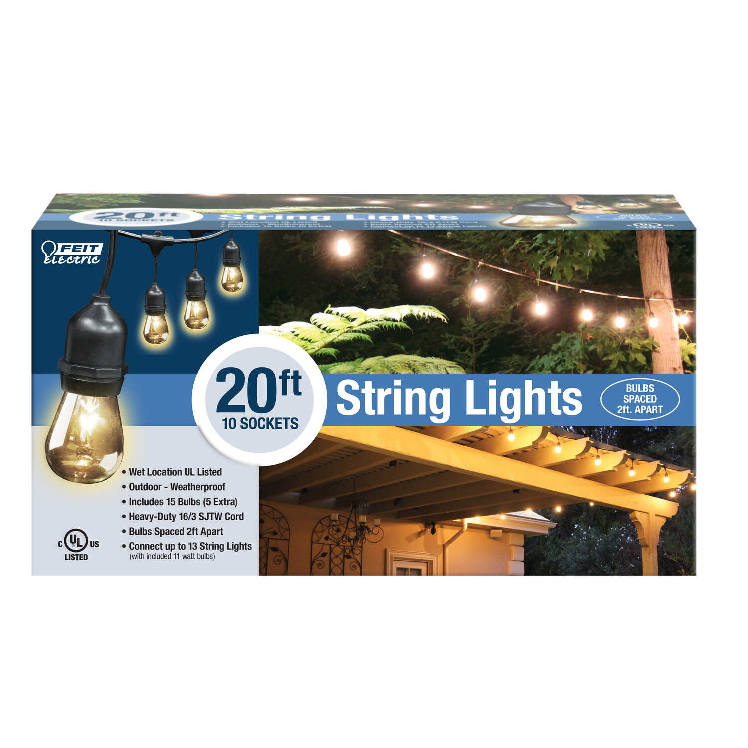 FEIT Electric  Clear  Decorative  String Light Set  Clear  20 ft. 10 lights Incandescent