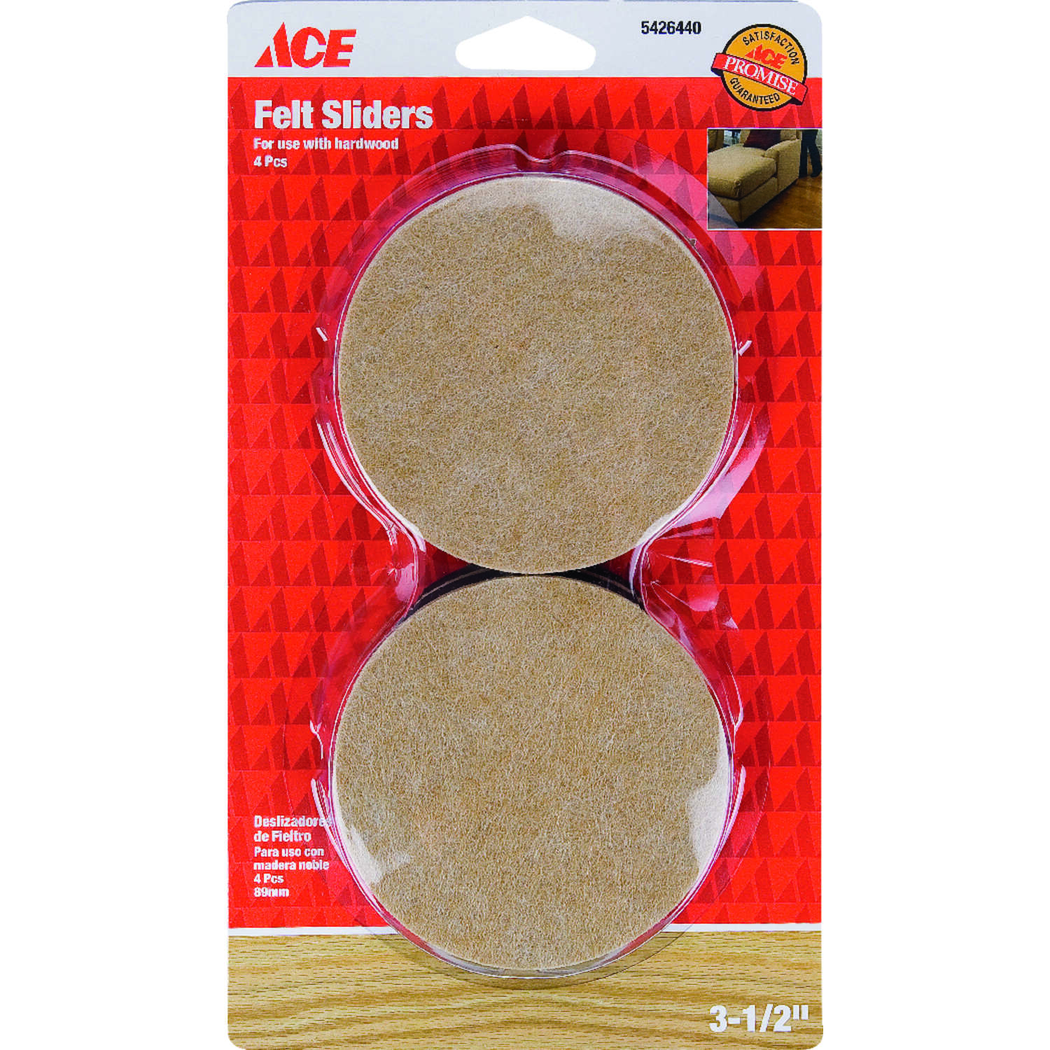 Ace  Felt  Slide Glide  Round  Brown  3-1/2 in. W 4 pk Self Adhesive