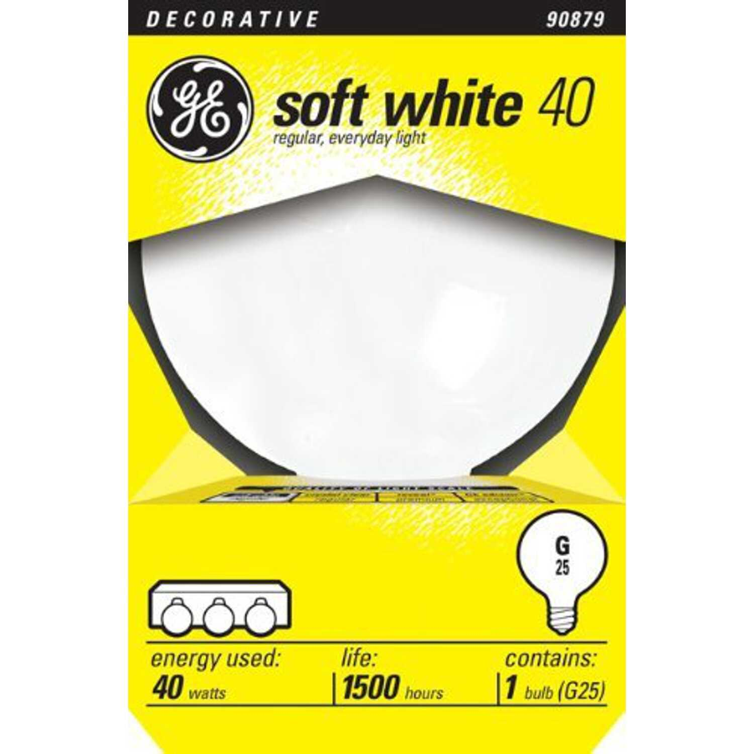 GE  40 watts G25  Globe  Incandescent Bulb  E26 (Medium)  Soft White  1 pk