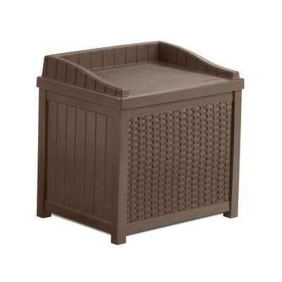 Suncast  22  W x 17 in. D Brown  Plastic  Deck Box with Seat
