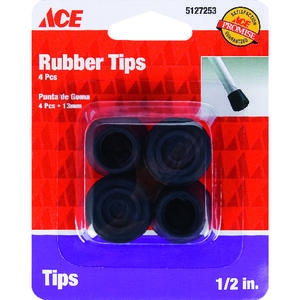 Ace  Rubber  Leg Tip  Black  Round  1/2 in. W 4 pk