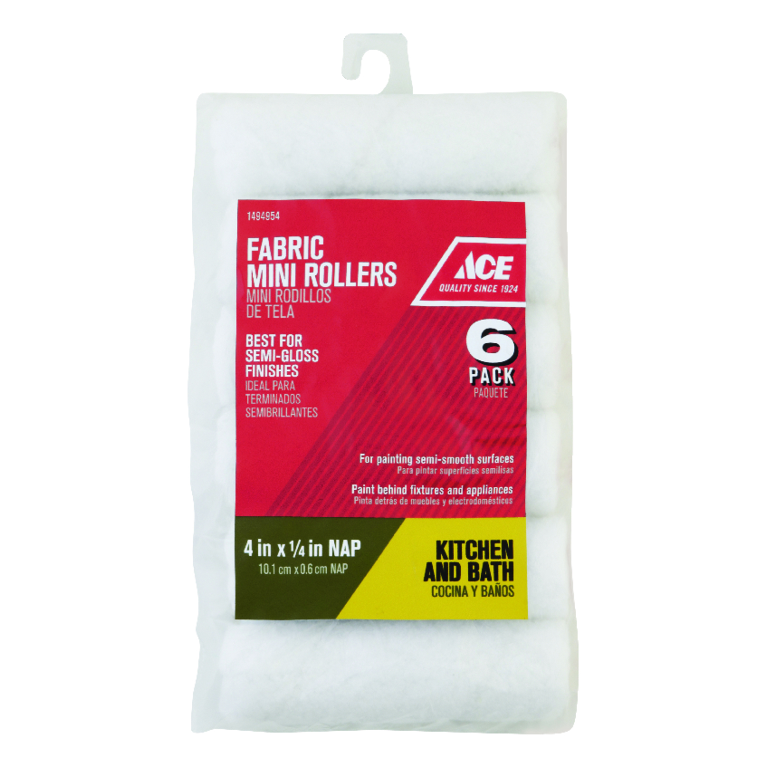Ace  Polyester  1/4 in.  x 4 in. W Mini  For Semi-Smooth Surfaces 6 pk Paint Roller Cover