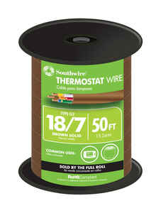 Southwire  50 ft. 18/7  Solid  Copper  Thermostat Wire