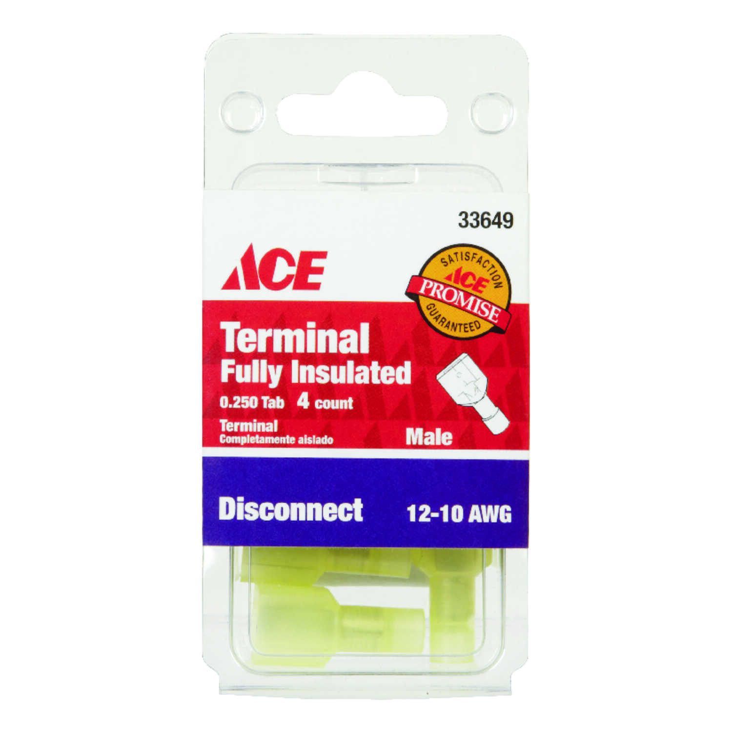 Ace  Insulated Wire  Male Disconnect  4 pk