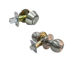 Faultless Ball Satin Stainless Steel Metal Entry Knob and Single Cylinder Deadbolt 3 Right Han