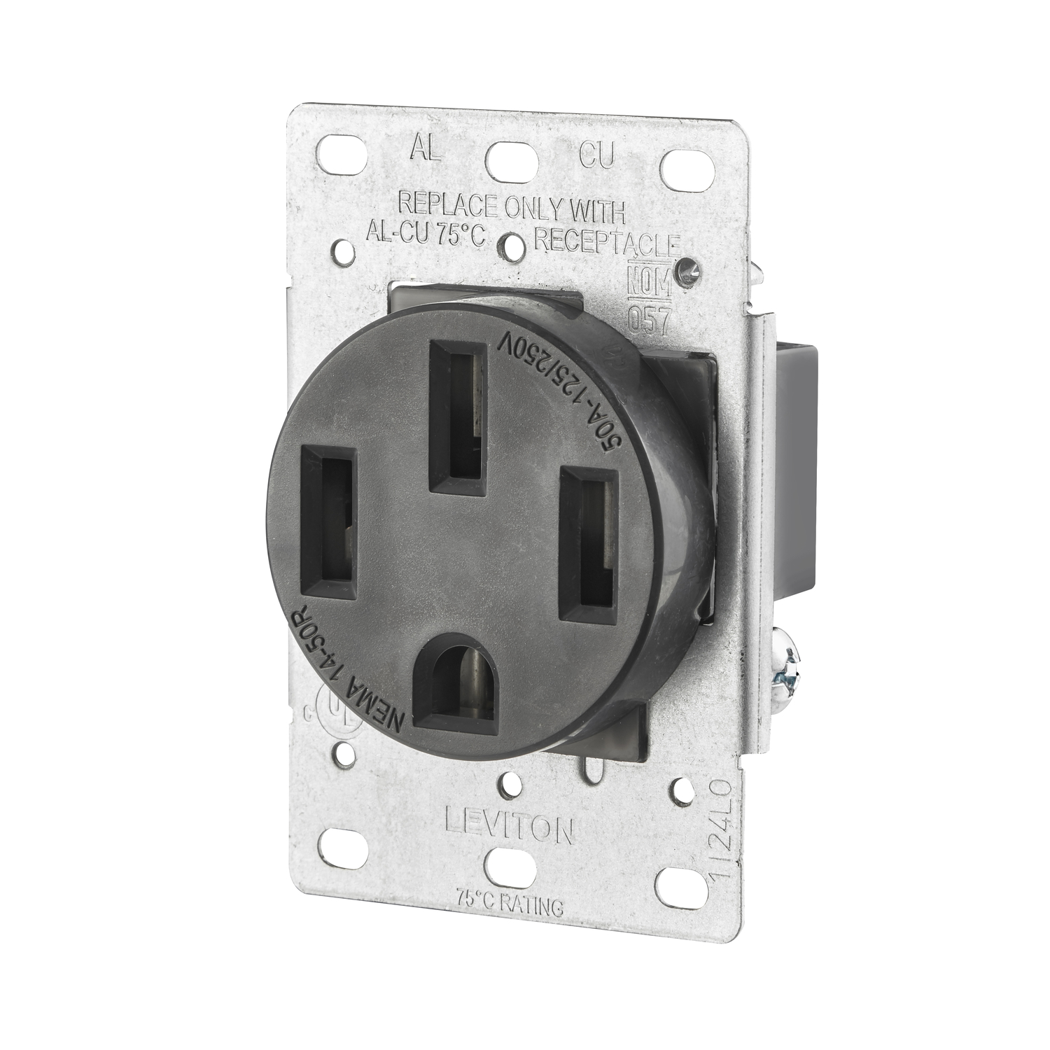 Leviton  50 amps 125/250 volt Black  Outlet  14-50R  1 pk