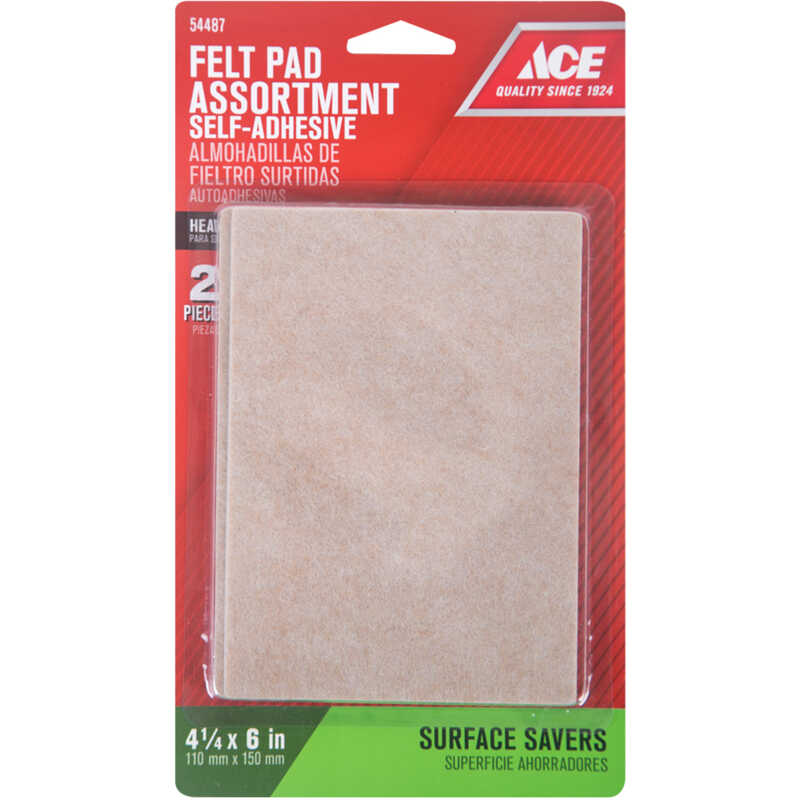 Ace  Felt  Blanket  Brown  Rectangle  4-1/4 in. W x 6 in. L 2 pk Self Adhesive