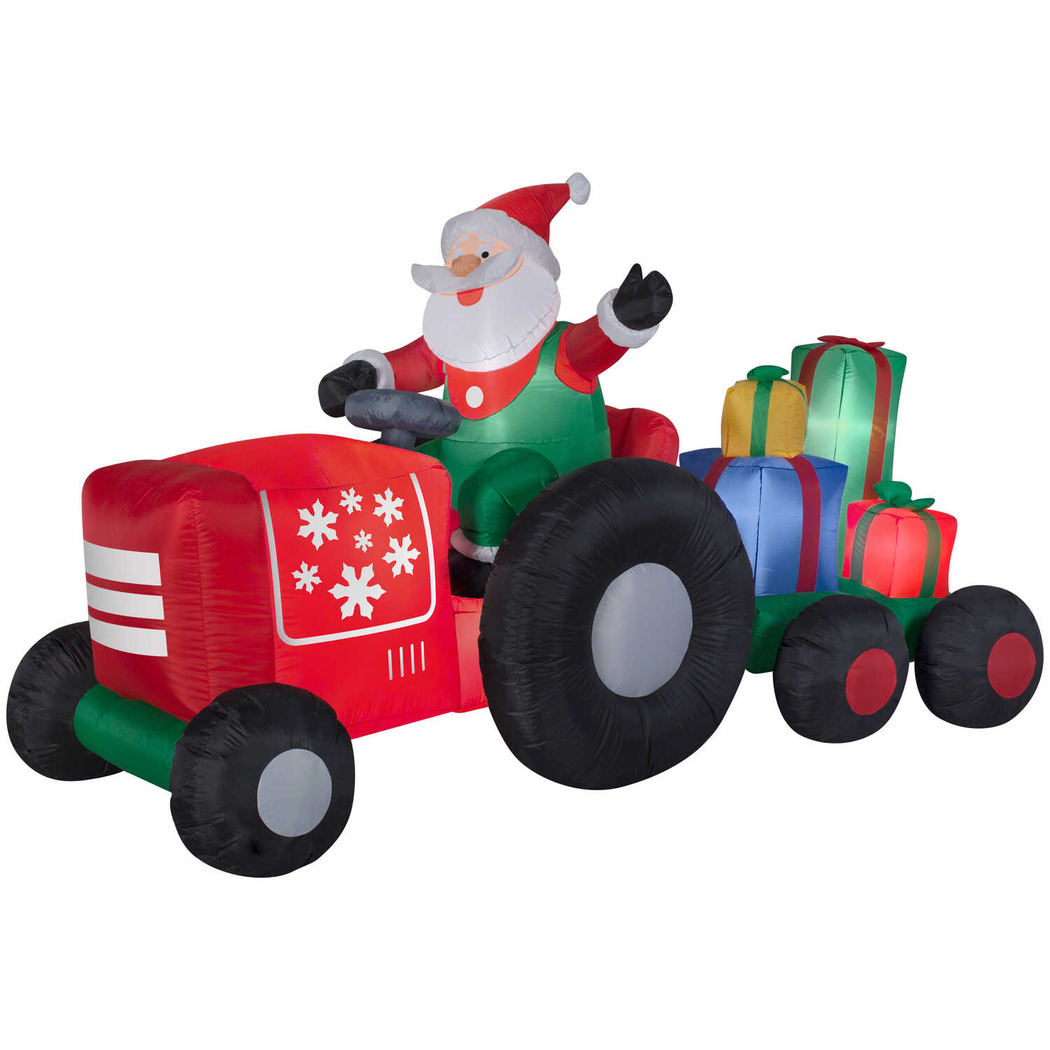 Gemmy  Tractor Riding Santa  Christmas Inflatable  Fabric  1 pk