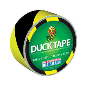 Duck  1.88 in. W x 15 yd. L Stripe  Duct Tape  Black/Yellow