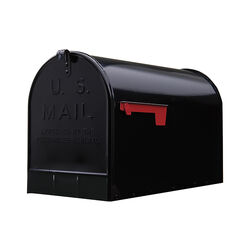 Gibraltar Mailboxes Stanley Jumbo Galvanized Steel Post Mount Black Mailbox