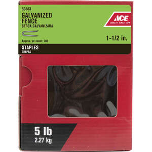 Ace  1-1/2 in. L Steel  Fence Staples  Galvanized  5 lb.