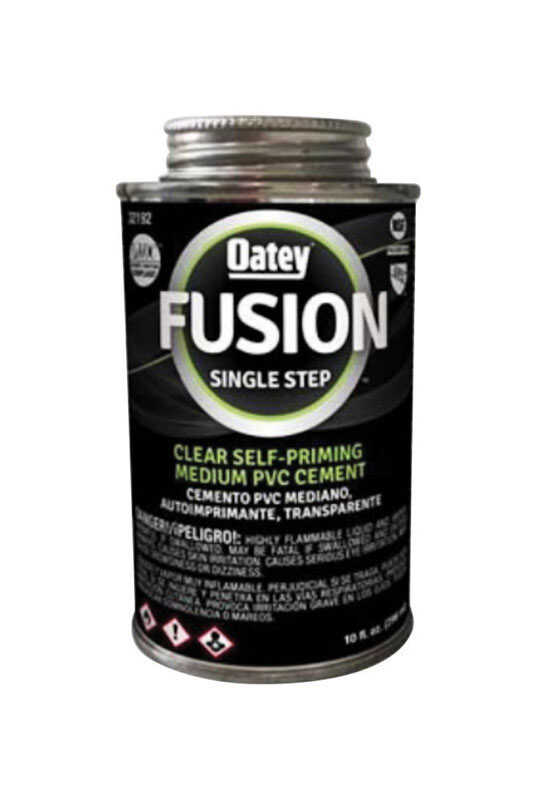 Oatey  Fusion Single Step  Clear  For Medium PVC 10 oz. Cement