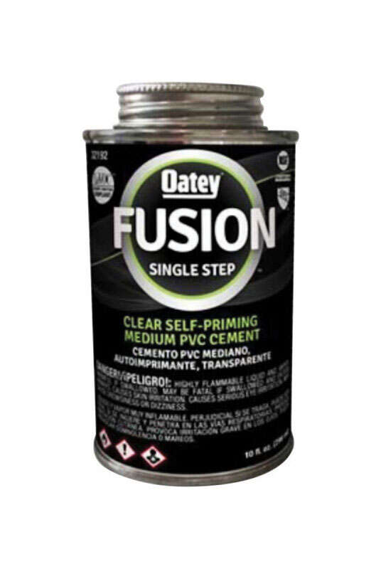 Oatey  Fusion Single Step  Clear  Cement  For Medium PVC 10 oz.