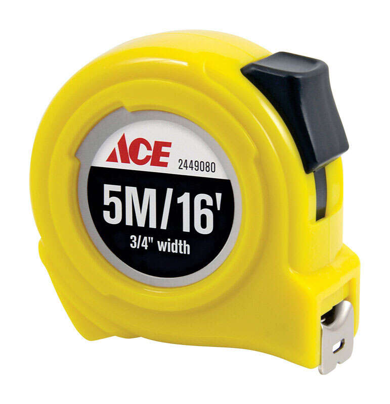 Ace  16 ft. L x 0.75 in. W High Visibility  Metric Tape Measure  Yellow  1 pk