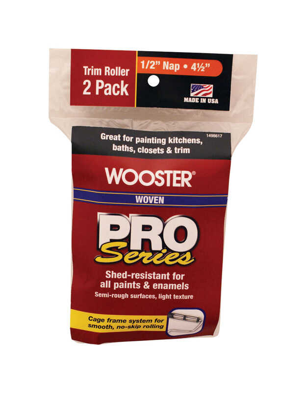 Wooster  Pro Series  Woven  1/2 in.  x 4-1/2 in. W Trim  Paint Roller Cover  2 pk