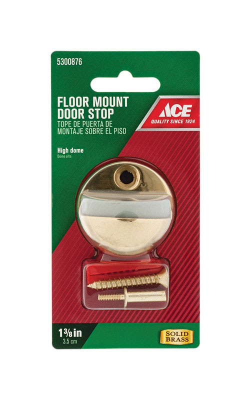 Ace  1-3/8 in. H Gold  Door Stop  Mounts to floor  Solid Brass w/Rubber Stop