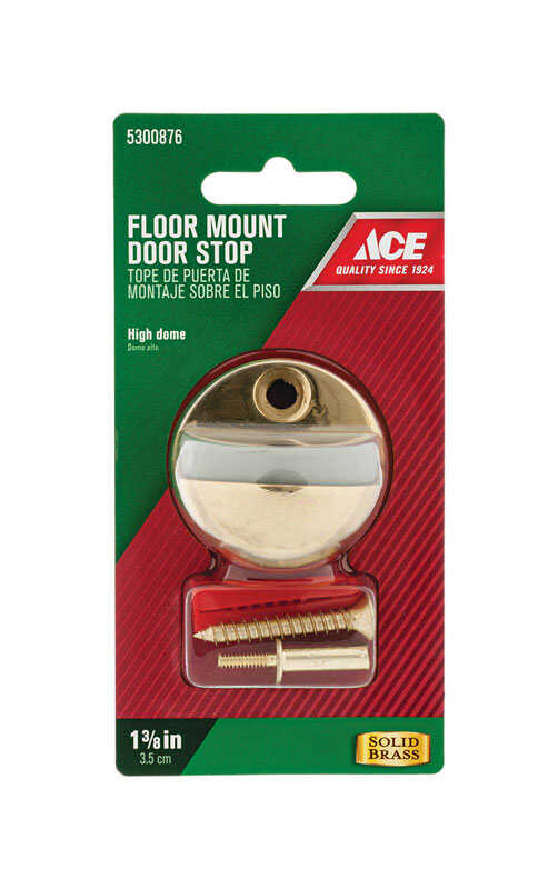 Ace  1-3/8 in. H Solid Brass w/Rubber Stop  Gold  Door Stop  Mounts to floor