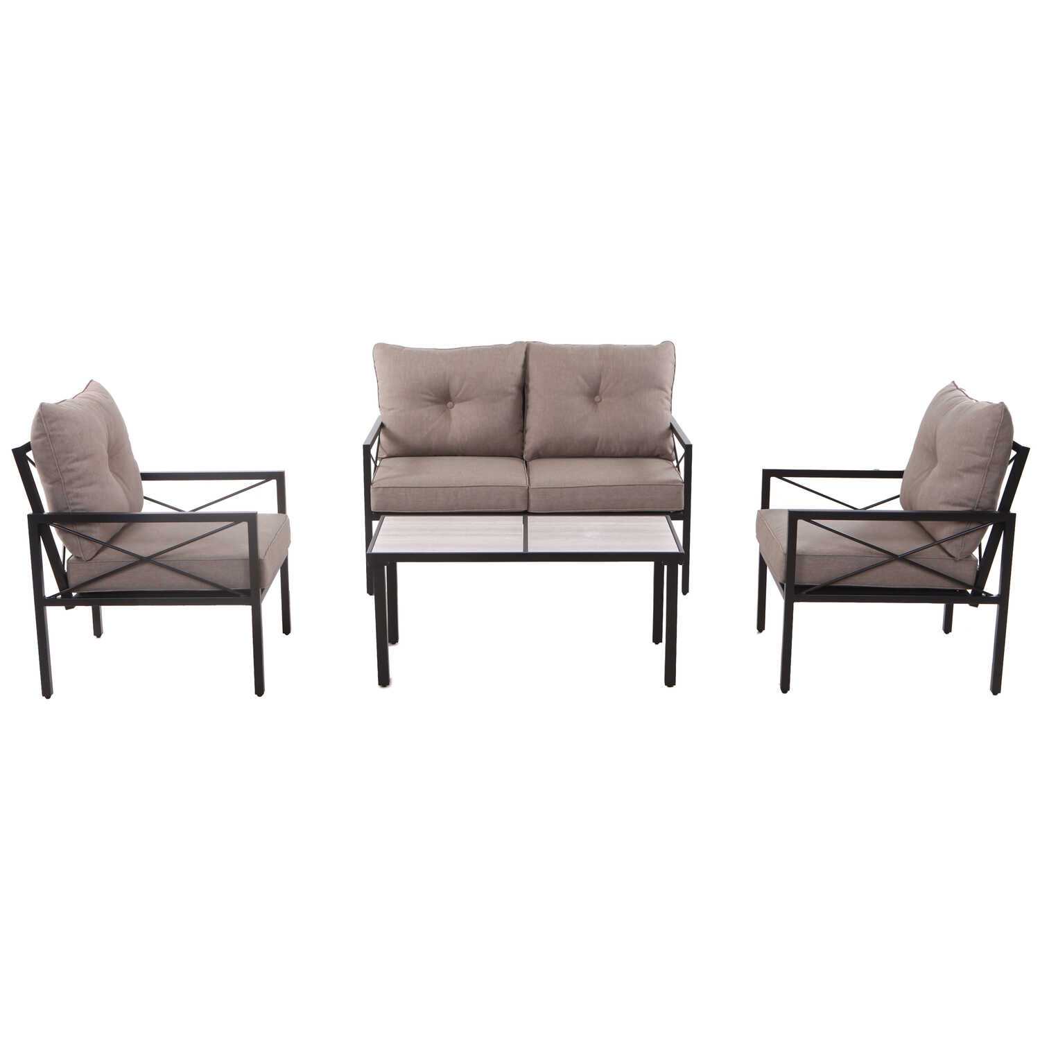Living Accents  Harrison  4 pc. Black  Steel  Dining Patio Set  Beige