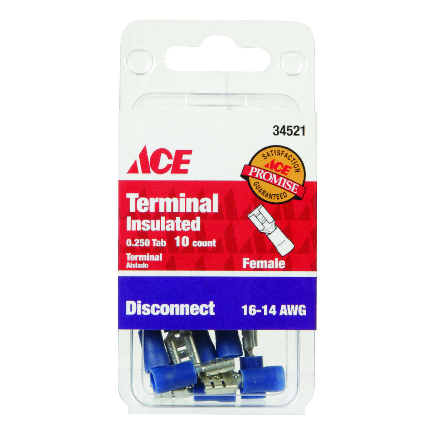 Ace  Insulated Wire  Female Disconnect  Blue  10 pk