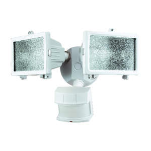 Heath Zenith  Metal  Motion-Sensing  White  Security Light  Hardwired