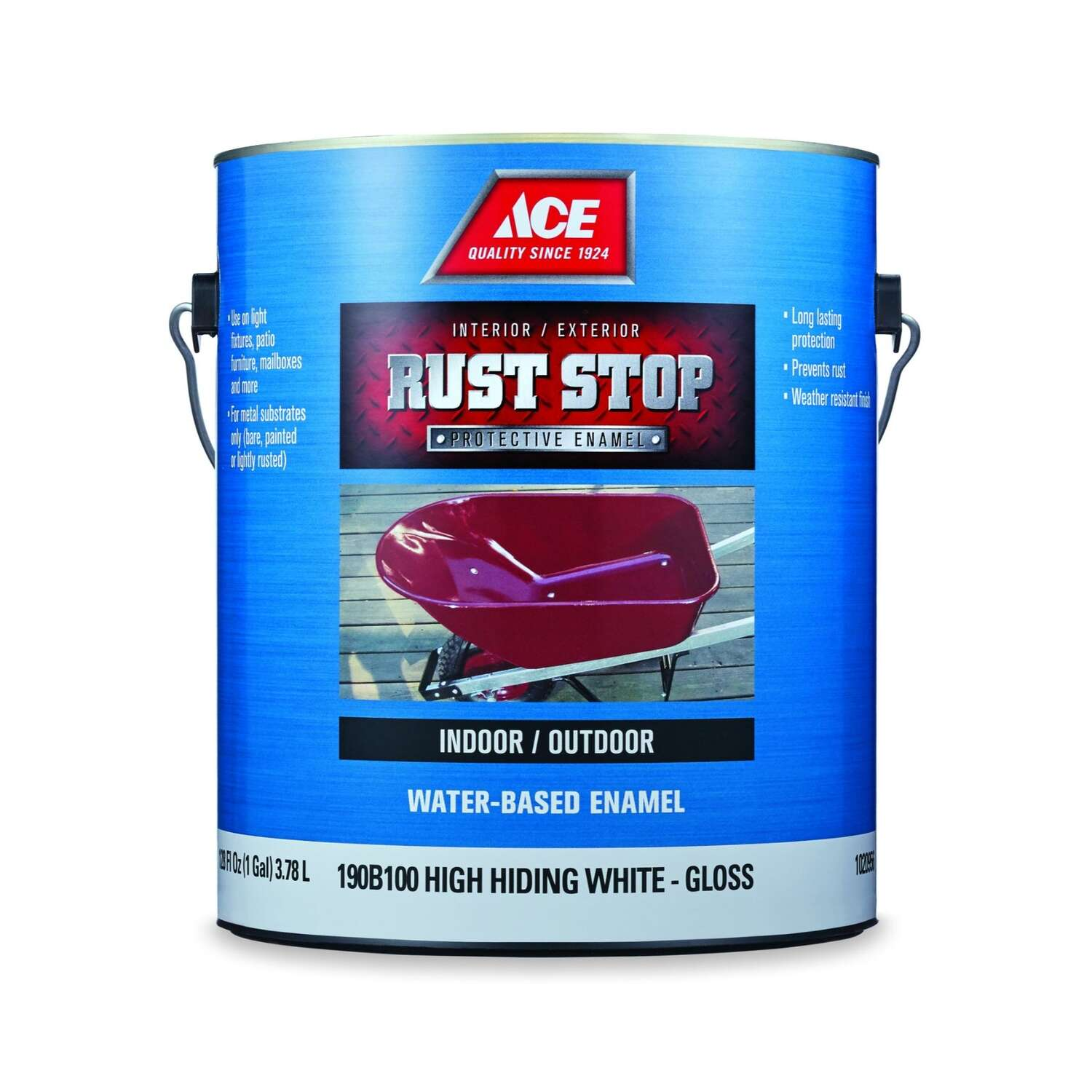 Ace  Rust Stop  Indoor / Outdoor  Gloss  High-Hiding White  Water-Based Enamel  Rust Preventative Pa
