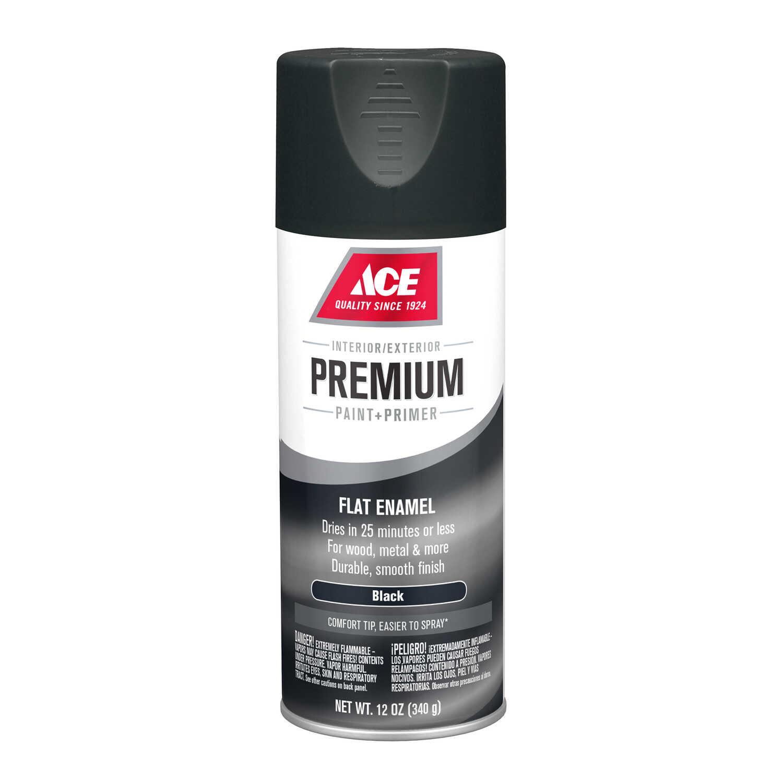Ace Premium Flat Black Enamel Spray Paint 12 oz  - Ace Hardware