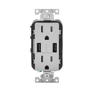 Leviton  Decora  15 amps 125 volt Gray  Outlet and USB Charger  5-15R