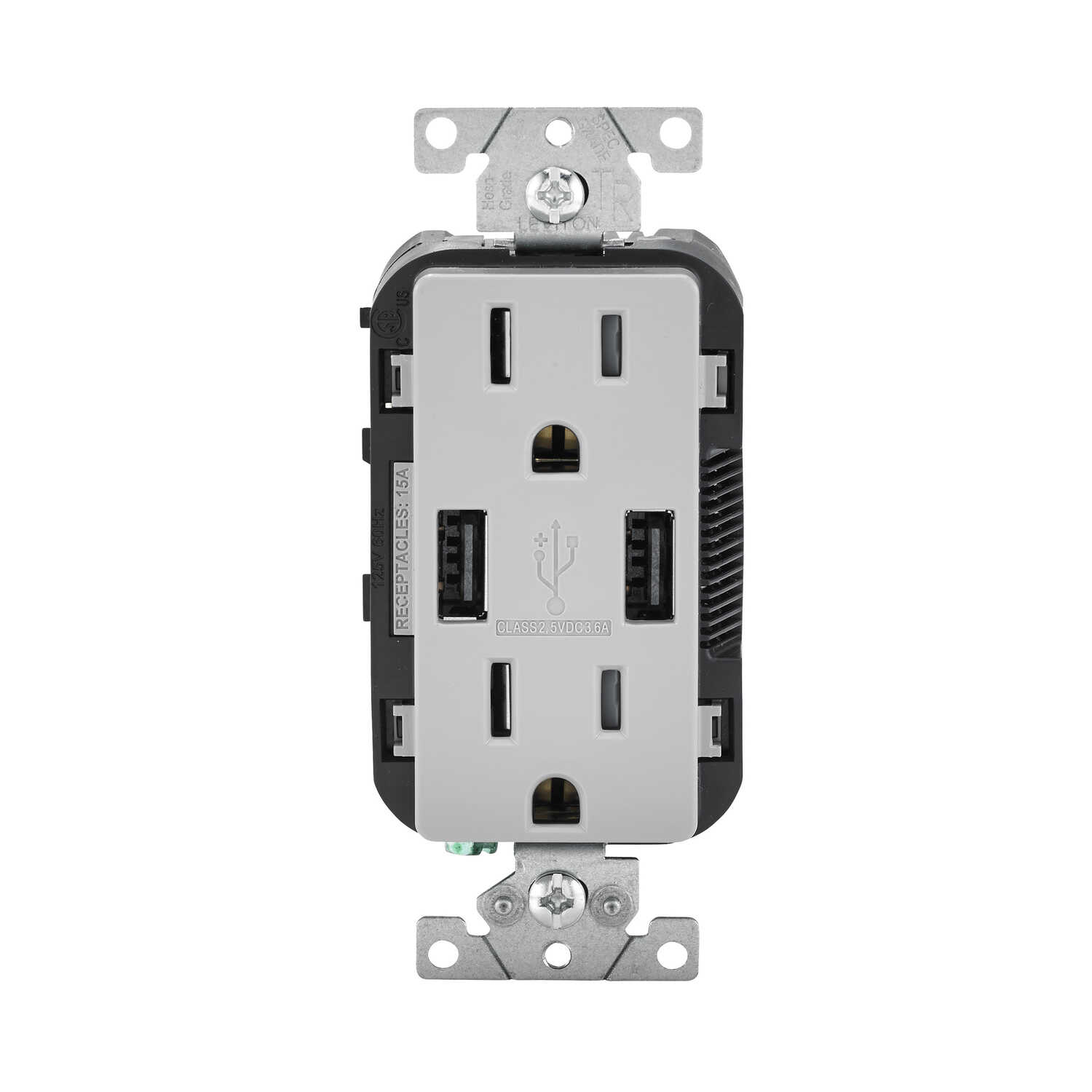 Leviton  Decora  15 amps 125 volt Gray  Outlet and USB Charger  5-15R  1 pk
