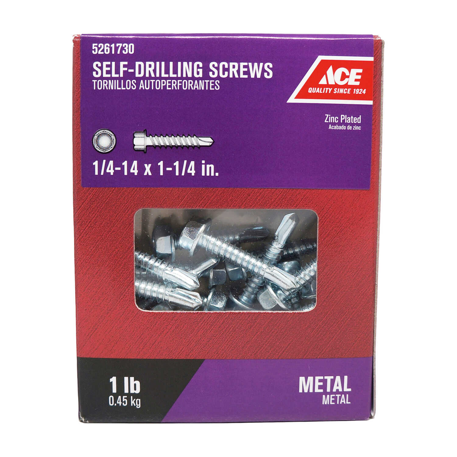 Ace  1/4-14 Sizes  x 1-1/4 in. L Hex Washer Head Zinc-Plated  Steel  Self- Drilling Screws  1 lb.