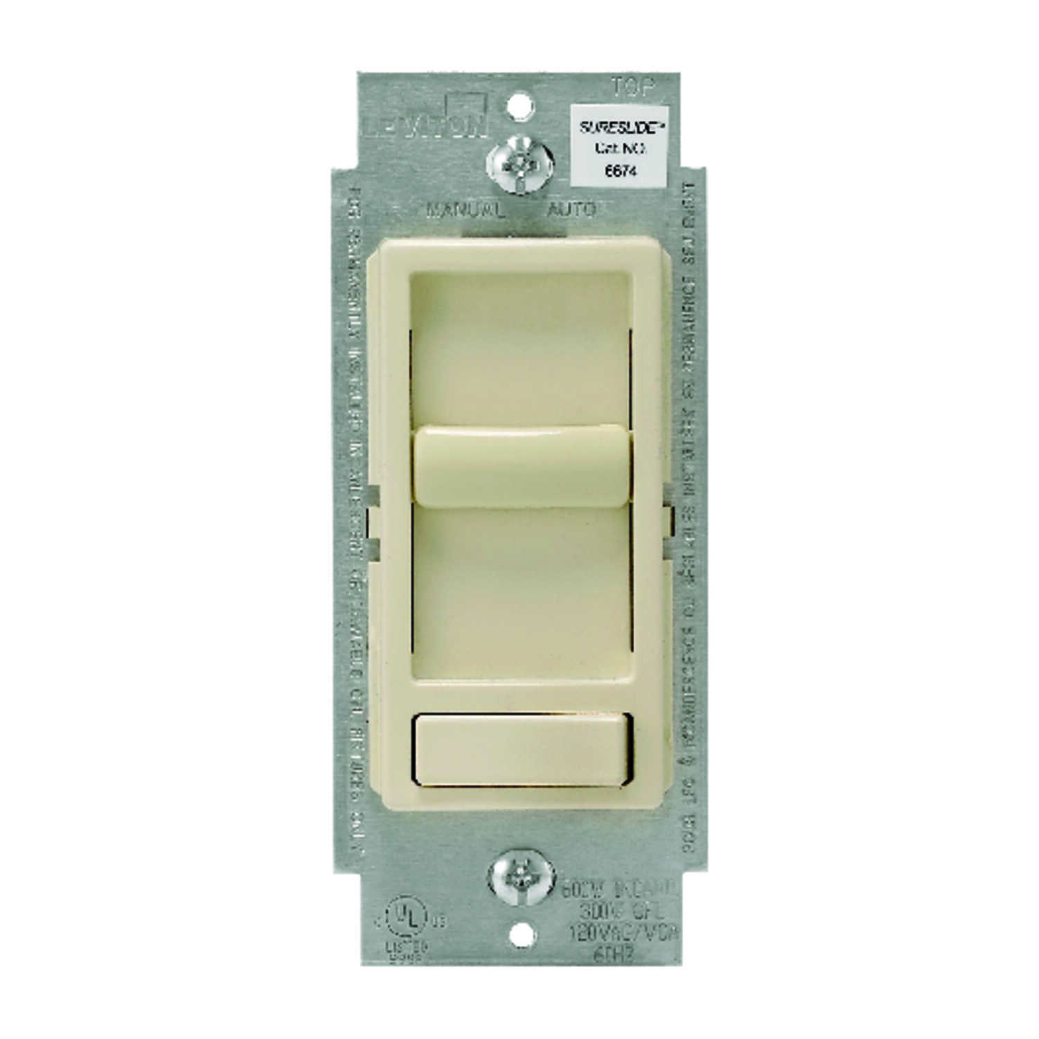 Leviton  SureSlide  Light Almond  600 watts Preset Slide  Dimmer Switch  1 pk