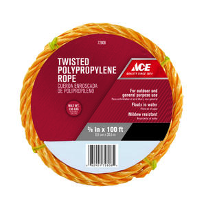 Ace  3/8 in. Dia. x 100 ft. L Yellow  Twisted  Poly  Rope