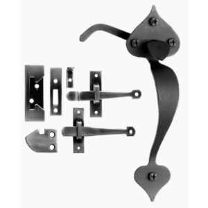 Acorn  Matte  Black  Forged Iron  Rim Latch