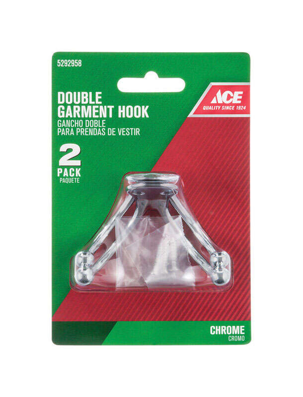 Ace  1-3/4 in. L Chrome  Silver  Metal  Small  Double Garment  Hook  2 pk