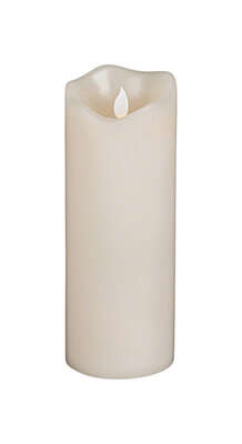 Gerson  Ivory  No Sent Scent LED  Flameless Flickering Candle  8 in. H x 3 in. Dia.