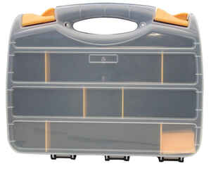 Quantum Storage  13 in. L x 10 in. W x 2 in. H Storage Organizer  Plastic  11 compartment Gray