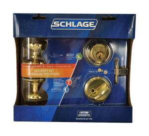 Schlage  Plymouth  Bright Brass  Steel  Knob and Single Cylinder Deadbolt  ANSI Grade 2  1-3/4 in.