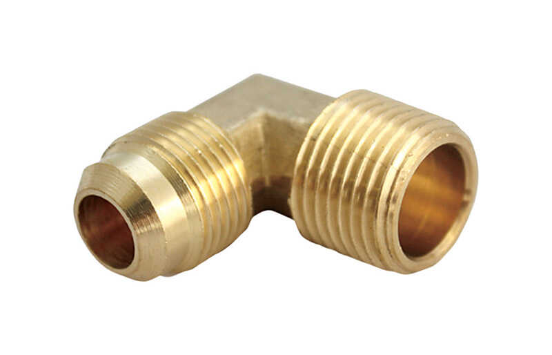 Ace  1/2 in. Dia. x 3/8 in. Dia. Flare To MPT To Compression  Yellow Brass  Elbow