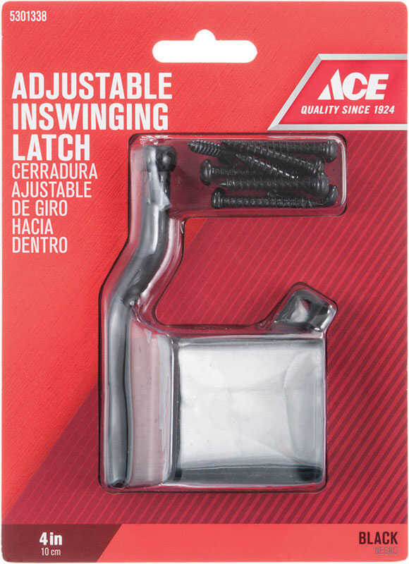 Ace  6.89 in. H x 5 in. W x 1885 in. L Black  Zinc  Adjustable Inswing Gate Latch