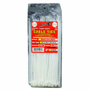 Tool City  8 in. L White  Cable Tie  100 pk